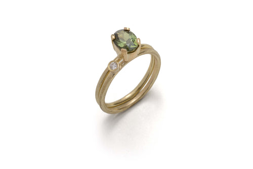 18k Yellow Gold Sapphire Claw Diamond Engagement Ring