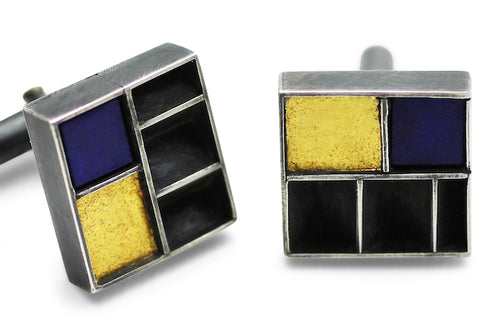 Cuff links in Silver and Gold with Lapis