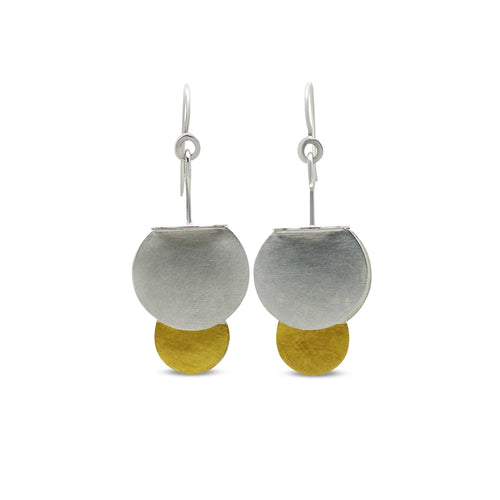Bell Earrings in silver and gold