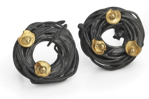 18k Gold Oxidized Acorn Cup Wrap Stud Earrings - Lireille