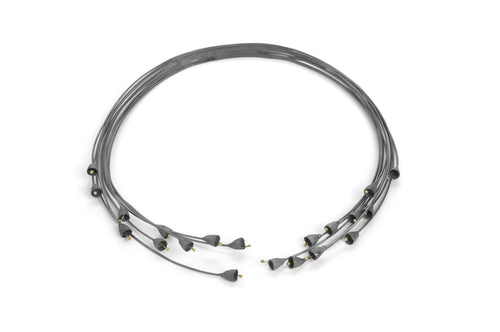 oxidised gum nut choker with 18ct gold - oxidised sterling silver and 18ct gold