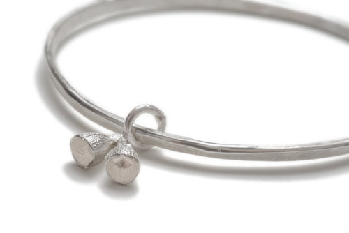 double bell gum nut bangle- sterling silver