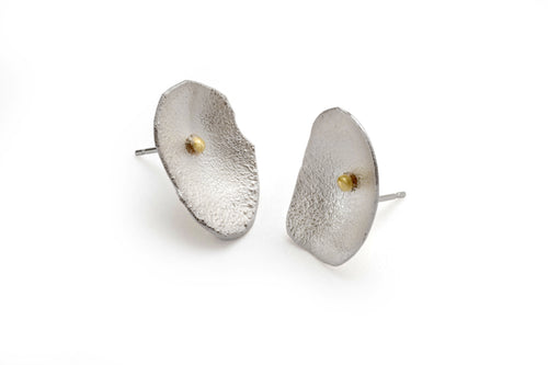 Medium Honesty Studs of sterling silver and 18k gold