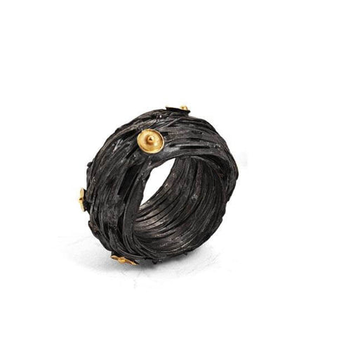 18k Gold Oxidized Acorn Cup Wrap Ring