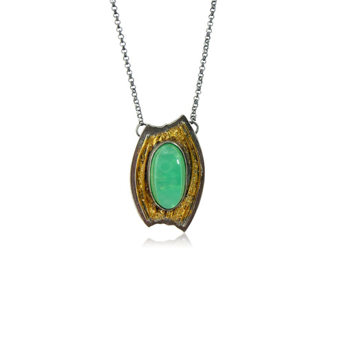 Sequoia Gold Necklace with Chrysoprase