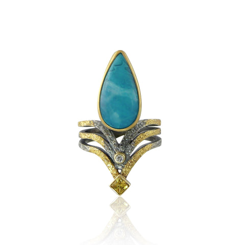sculptural ring with chrysoprase