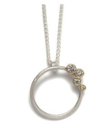 Silver Hoop Pendant with Grey Diamonds set in 18k Gold