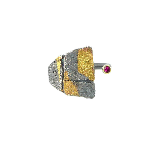 Small Bedrock Gold Wrap Ruby Ring