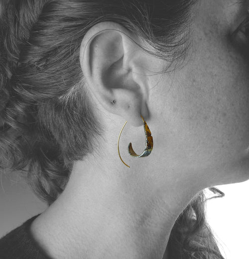 Spiral Dahlia Gold Hoop Earrings Model