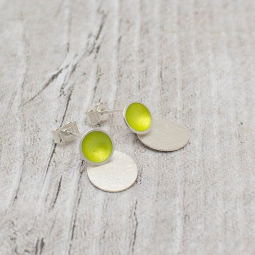 Halo Small Enamel Studs with Textured Silver Drop Detail