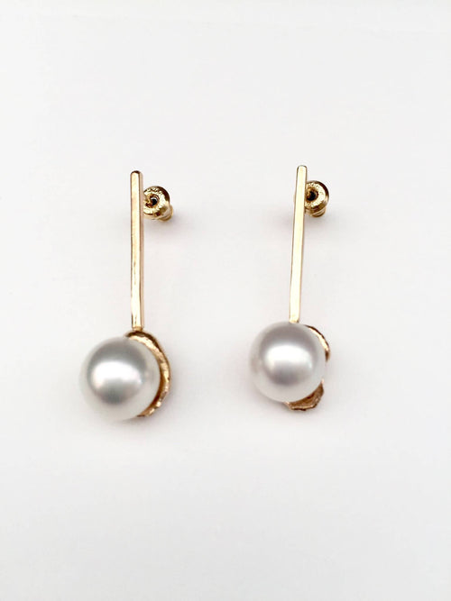 White South Pearl on Gold Bar Post Earrings
