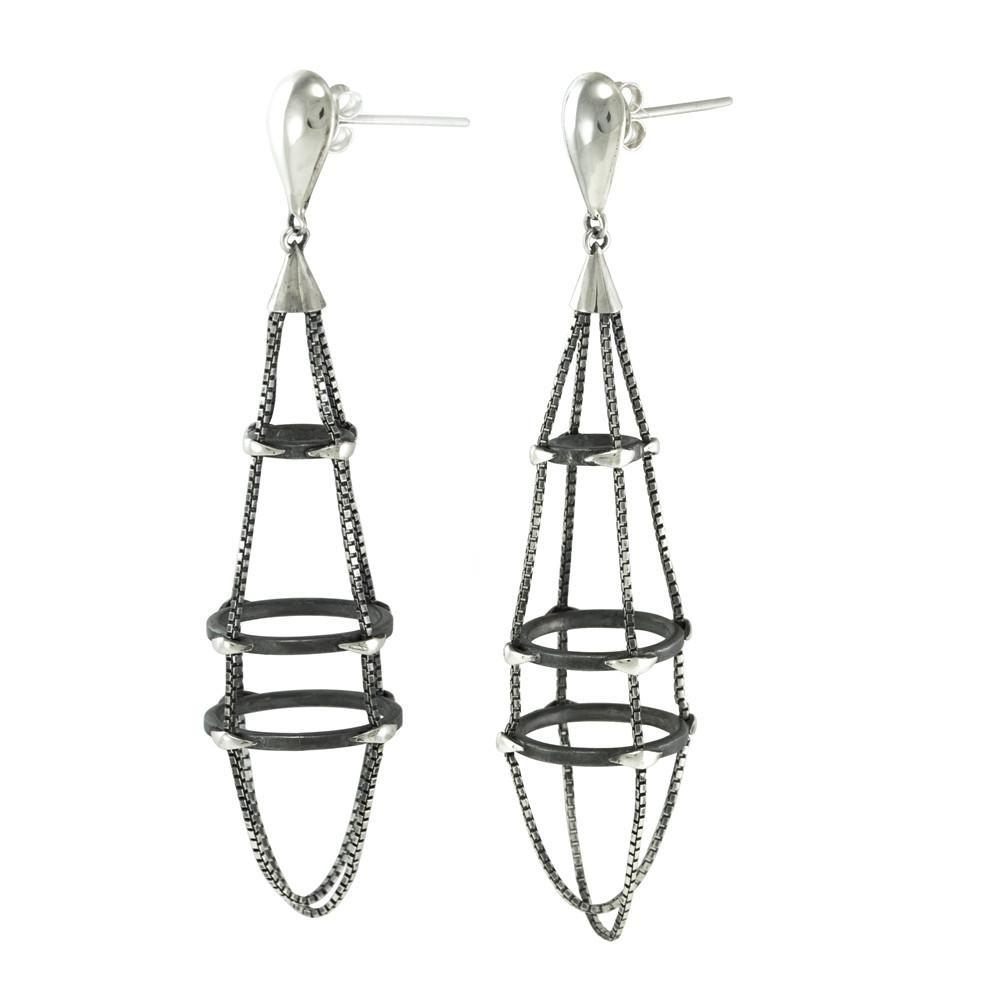 Spider Tear Oxidized Silver Earrings