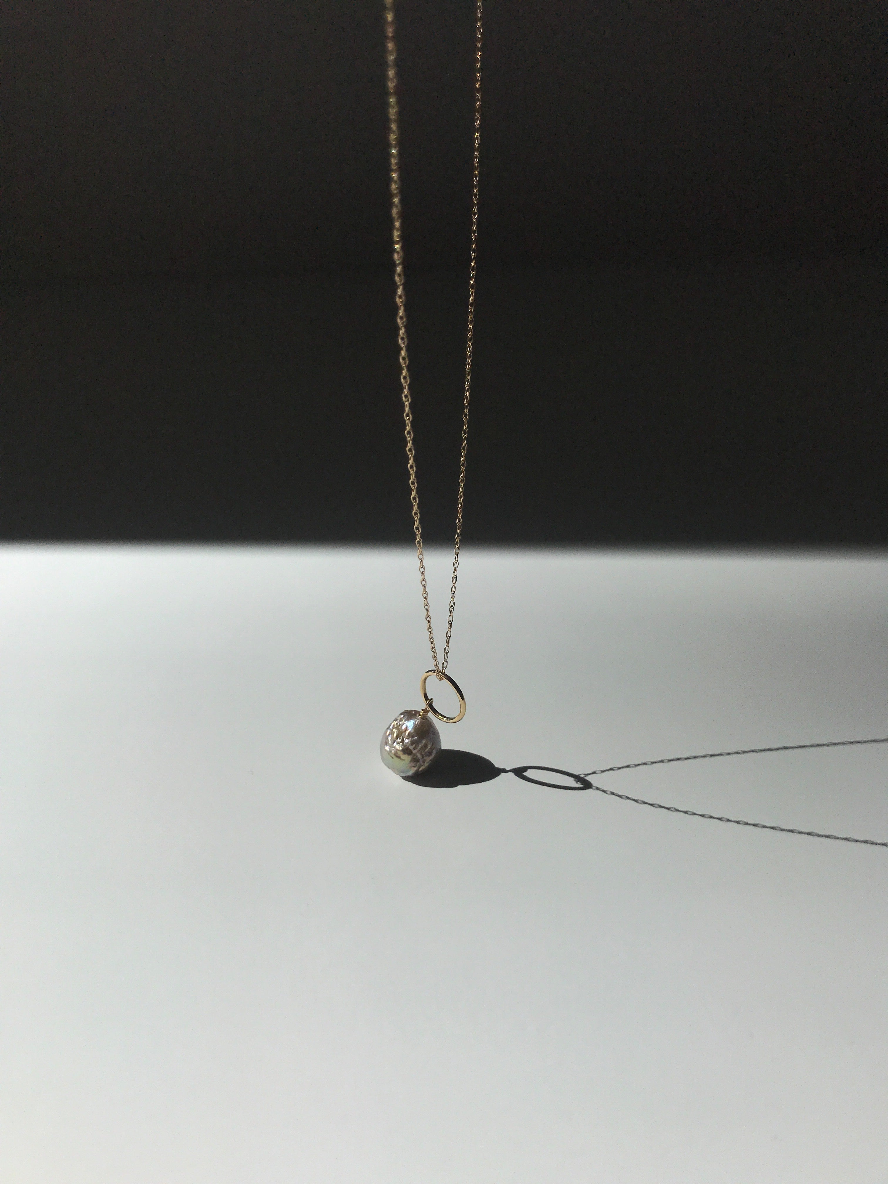 Stellar Necklace with Japan Kasumi Pearl on 14K solid yellow gold fine rope chain