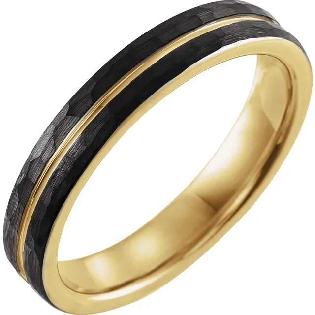 18K Yellow Gold PVD 4mm Hammered Textured Center Grooved Black PVD Tungsten Band