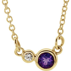 14k Gold Amethyst and Diamond Necklace