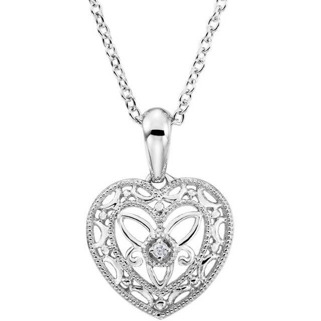 "Sterling Silver Vintage Inspired Diamond Heart 18"" Necklace"