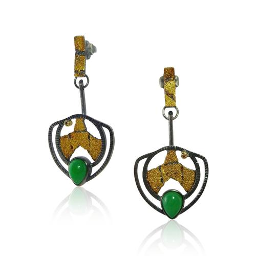 Terra Leaf Chrysoprase Gold Diamond Earrings