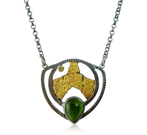 Terra Leaf Jade Gold Diamond Necklace