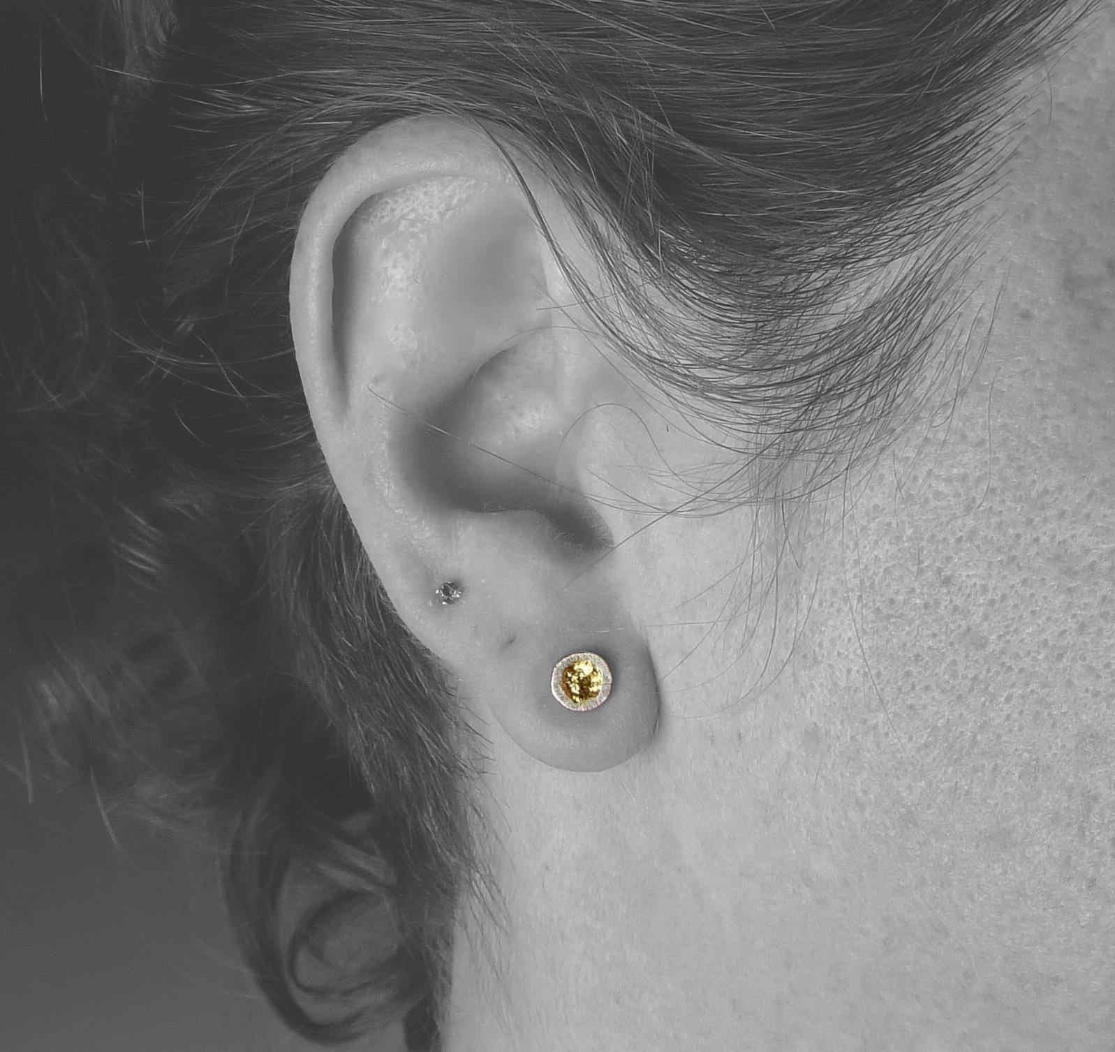 Tiny Erosion Gold Stud Earrings-Bright Finish
