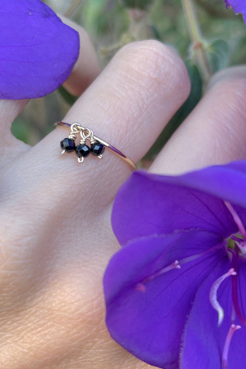 Triple Black Spinel Gemstone Stacking Ring