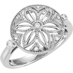 Vintage Style Filigree Sterling Silver .05 CTW Diamond Ring