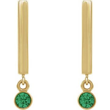 14K Gold Dangle Earrings with 2.5 mm Round Gemstones