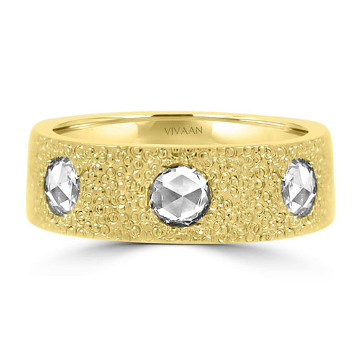 18k Yellow Gold Rose Cut Diamond Ring
