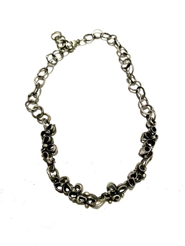 Black Agate, Floral Crystal, Cherry Quartz, 925 Silver Chain, Black Chinese Knots Necklace