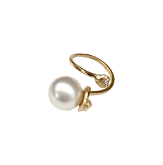 One of a Kind White South Pearl Diamond Ring