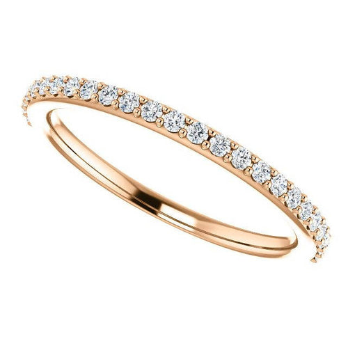 14K Rose Gold Wedding Band set with Environmentally Friendly Moissanite