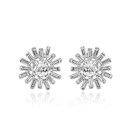 18k White Gold Rose Cut Diamonds Earrings - Lireille