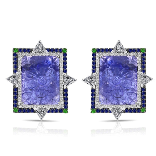 Bicolored Tanzanite Diamond Sapphire Earrings - Lireille