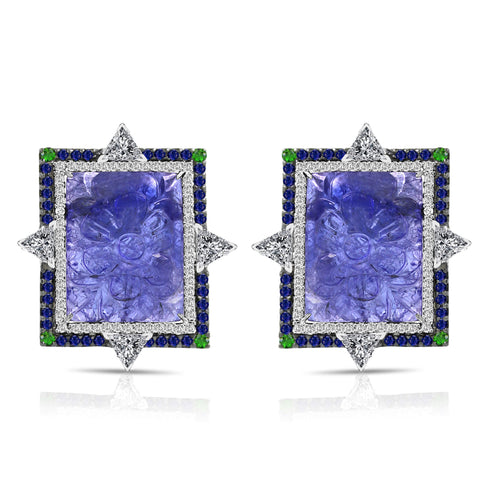 18k gold Bicolored Tanzanite Diamond Sapphire Earrings