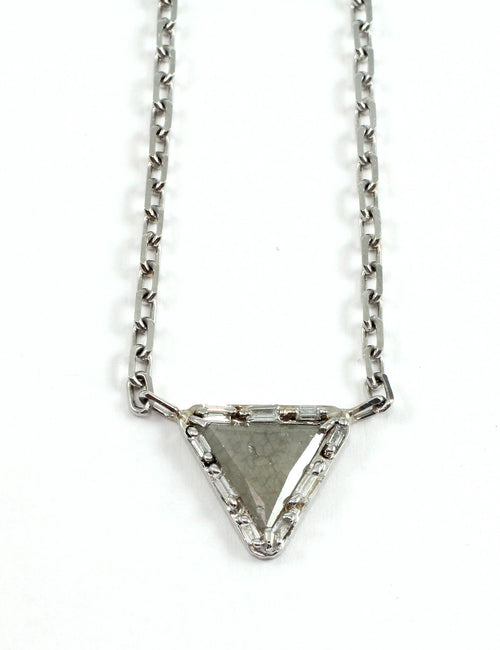 18k White Gold Icy Grey Triangle Diamond Pendant - Lireille