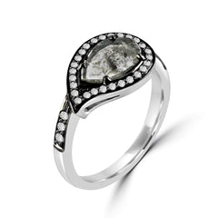 18k White Gold Paisley Diamond Ring - Lireille