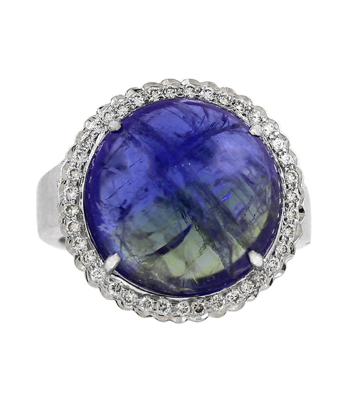18k White Gold Bicolored Tanzanite Diamond Ring - Lireille