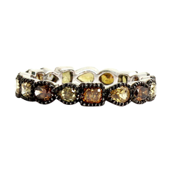 18k white gold band set with Black and Multi-color Diamonds