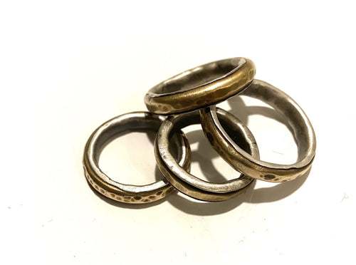 Yellow Brass Center Ring Wrapped in Sterling Silver