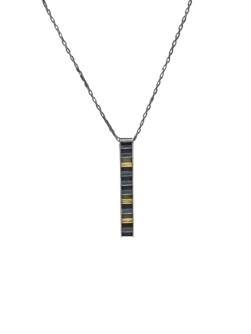 Ladder shape pendant in oxidized silver and gold
