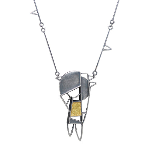 On of a kind Sculptural 'Journey' long necklace in oxidized silver and gold