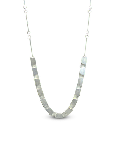 Overlapping Trapezoidal Shapes Necklace with Sterling Silver and Handmade Chain and Clasp