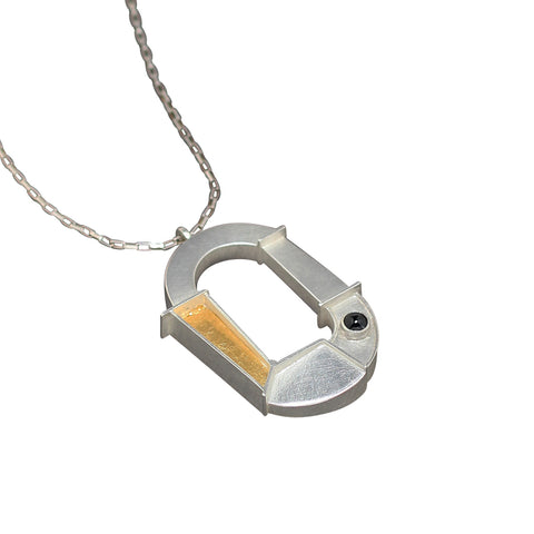 Silver and Gold Gum Nut Pendant with Diamond Accent