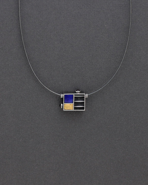 Architectural Cube with Lapiz, Tourmaline and Gold Accents Necklace