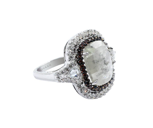Grey slice diamond with 2 rose cut trillions and white & burnt orange diamonds halo ring