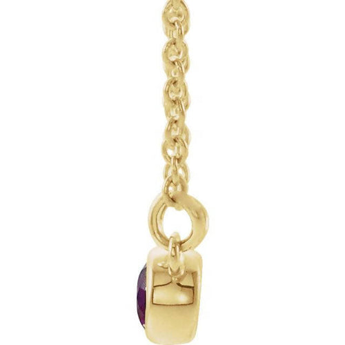 14k Gold 3mm Amethyst and Diamond Necklace