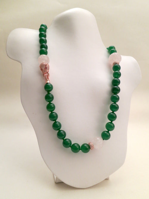 Green Jade and Rose Quartz Necklace