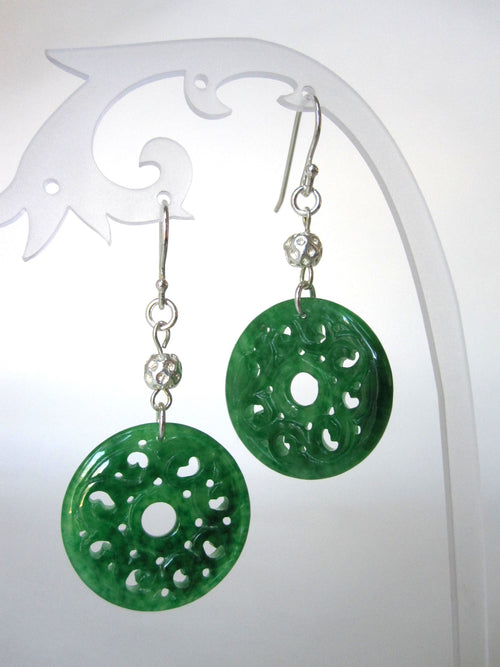 Jade and 925 Silver Hook Earrings