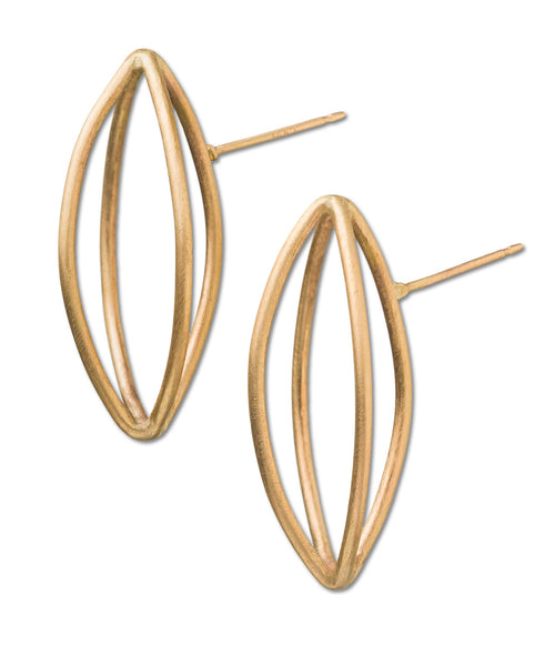 Small Pod Gold Earrings