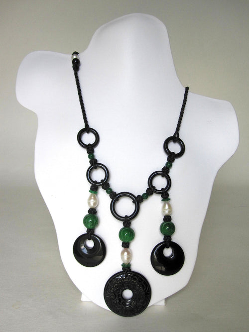 Green Jade, Fresh Water Pearls, Black Chinese Knots Necklace