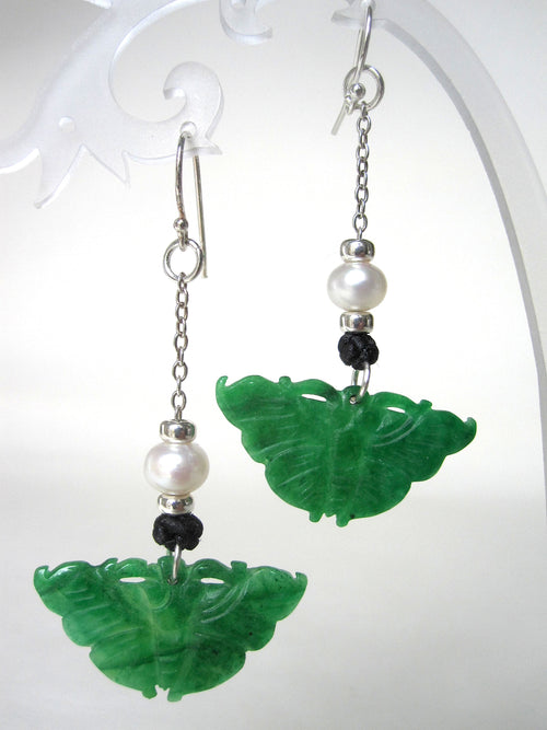 Jade, Fresh Water Pearls, 925 Silver Beads, Hooks & Chain Black Chinese Silk Knots Earrings